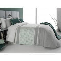Cuvertura de pat Kim gri cu model elegant turcoaz pal