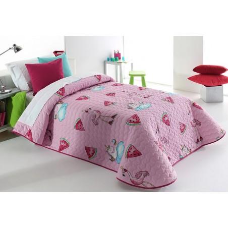 Cuvertura de pat pentru fete cu desene vesele Pink