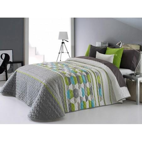 Cuvertura de pat Toler 2P gri cu model verde si bleu