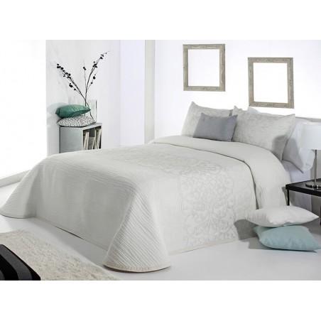 Cuvertura de pat eleganta Pompey alb cu model argintiu