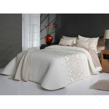 Cuvertura de pat eleganta Pompey ivoire cu model roz prafuit