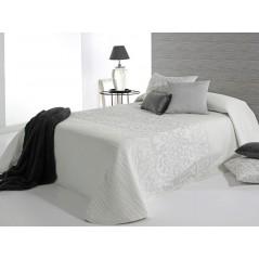 Cuvertura de pat eleganta Pompey alb cu model gri