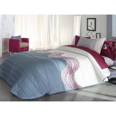 Cuvertura de pat Zone 2A alb si albastru cu model grena