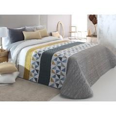 Cuvertura de pat Wang 2P gri cu alb si galben cu model geometric