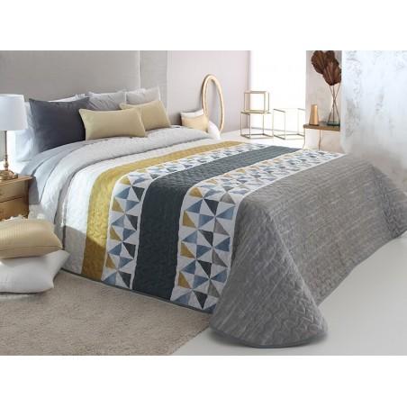 Cuvertura de pat Wang 2P gri cu alb