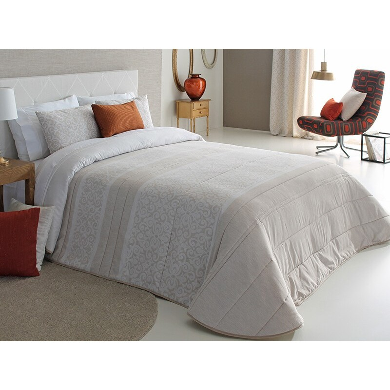 Cuvertura de pat eleganta Thais cu design crem cu bej