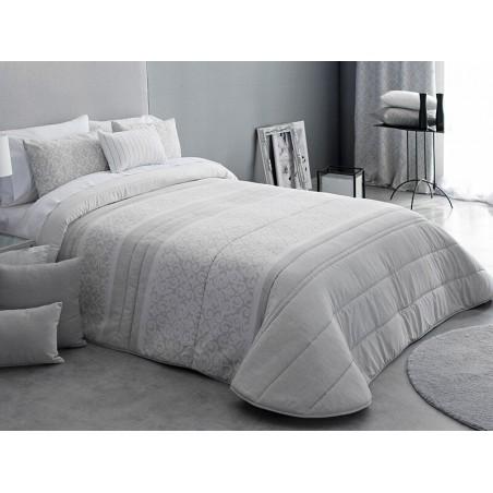 Cuvertura de pat eleganta Thais cu design gri cu alb