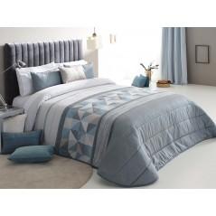 Cuvertura de pat Testino cu model geometric gri turcoaz sidefat