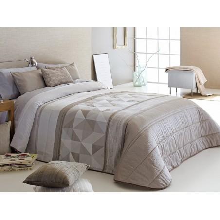 Cuvertura de pat Testino cu model geometric crem maro sidefat