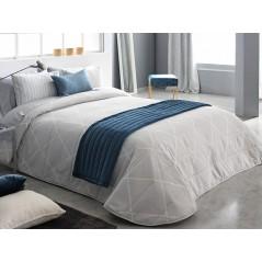 Cuvertura de pat eleganta Deniro gri cu model geometric discret