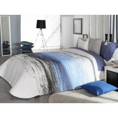 Cuvertura de pat moderna Tarey 2P alb cu albastru si gri