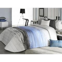 Cuvertura de pat moderna Tarey 2A alb cu albastru si gri