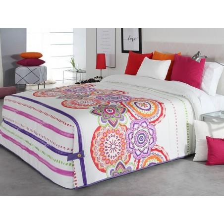 Cuvertura de pat vesela Surat 02 alb cu modele portocalii si mov