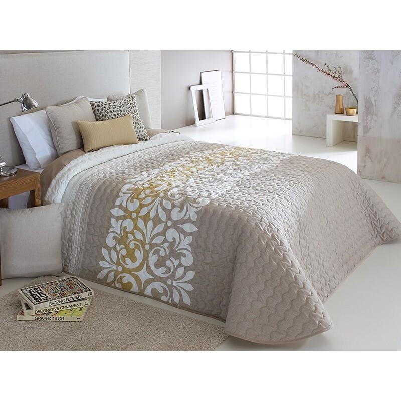 Cuvertura de pat Limoges 2P bej cu model elegant alb cu auriu