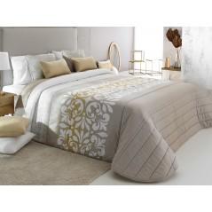 Cuvertura de pat Limoges 2A bej cu model elegant alb cu auriu