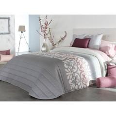 Cuvertura de pat Limoges 2A gri cu model elegant alb cu mov