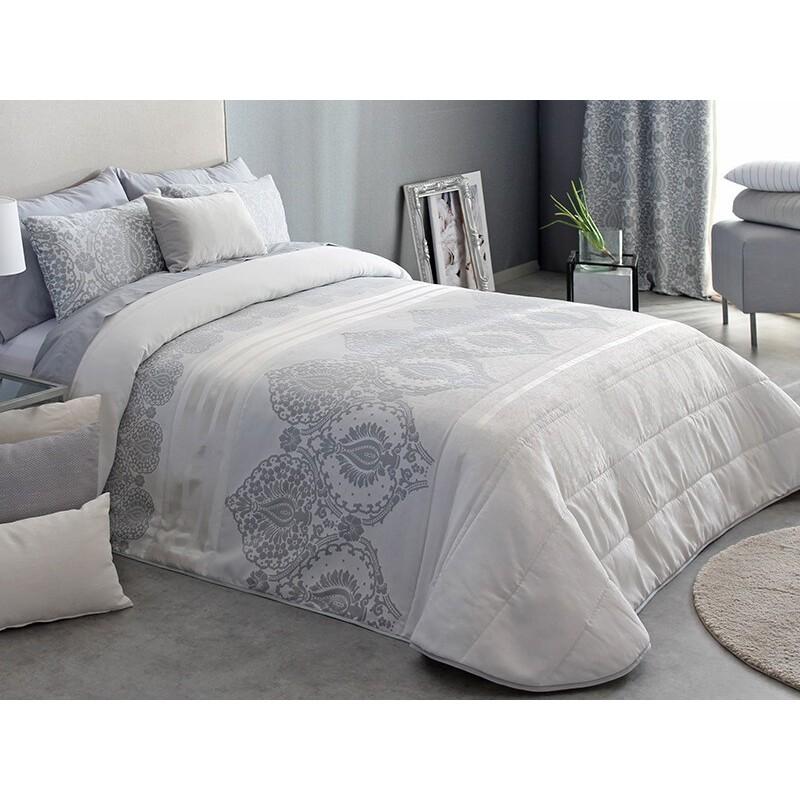 Cuvertura de pat moderna Atel cu design elegant gri cu alb