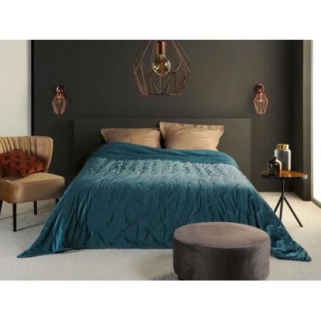 Cuvertura de pat eleganta Pandore catifea albastra