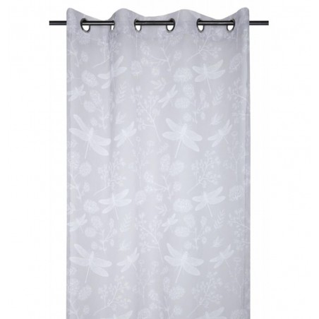 Perdea eleganta confectionata pe inele Boudoir gri deschis cu modele albe