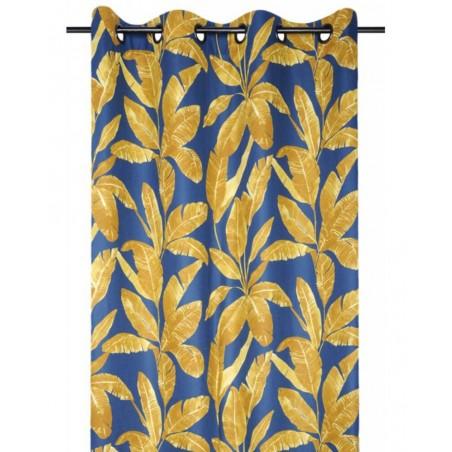 Draperie confectionata cu inele albastra cu frunze aurii Belize