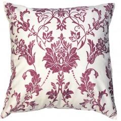 Perna decorativa cu imprimeu roz movuliu pe fond alb