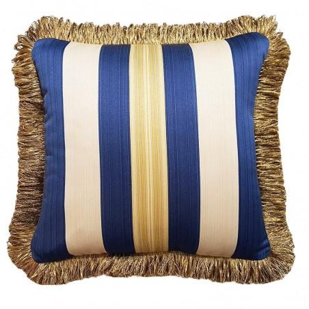 Perna decorativa eleganta cu dungi si ciucuri bej cu albastru
