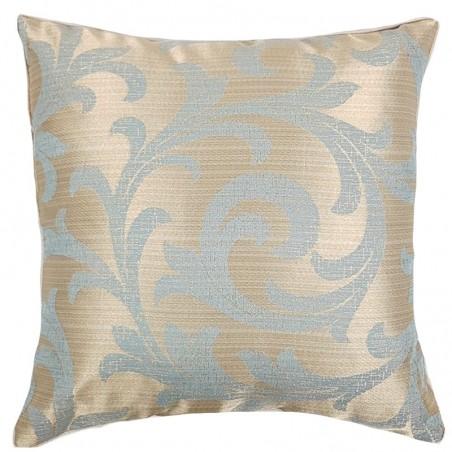Perna decorativa cu imprimeu bleu pe fond auriu perlat