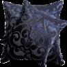 Perna decorativa din catifea indigo cu imprimeu negru