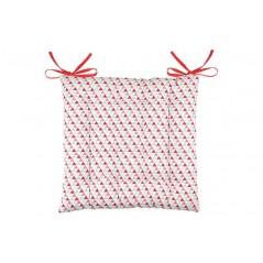 Perna scaun bumbac imprimeu geometric rosu cu bleu