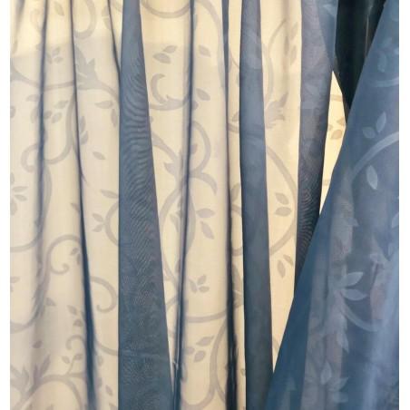 Metraj perdea voal cu imprimeu jacquard Karo albastru