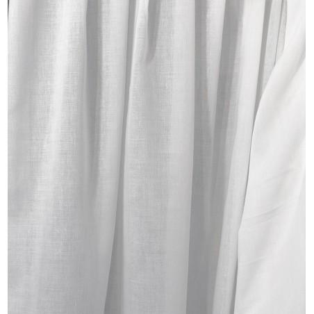 Metraj perdea simpla cu aspect natural Karo alb