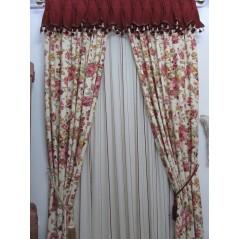 Metraj draperie bumbac cu flori grena