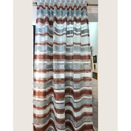 Perdea eleganta maro cu bleu turcoaz Karo confectionata pe rejansa cu bride 140x225 cm