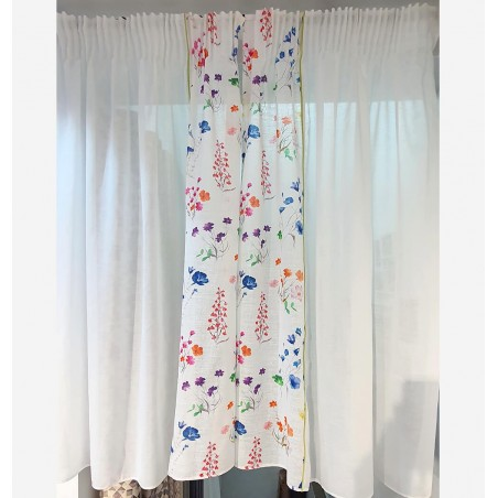 Set 2 perdele bumbac cu flori colorate confectionate pe rejansa 110x125 cm