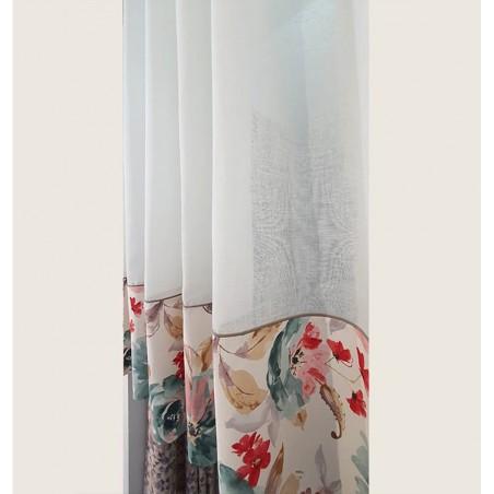 Perdea de bucatarie din bumbac cu flori la baza confectionata cu inele 270x155 cm
