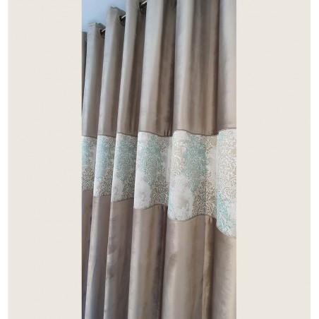 Draperie eleganta catifea cafeniu cu model elegant confectionata cu inele 250x265 cm