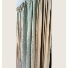 Set 2 draperii catifea bej cu model turcoaz confectionate pe rejansa 190x265 cm