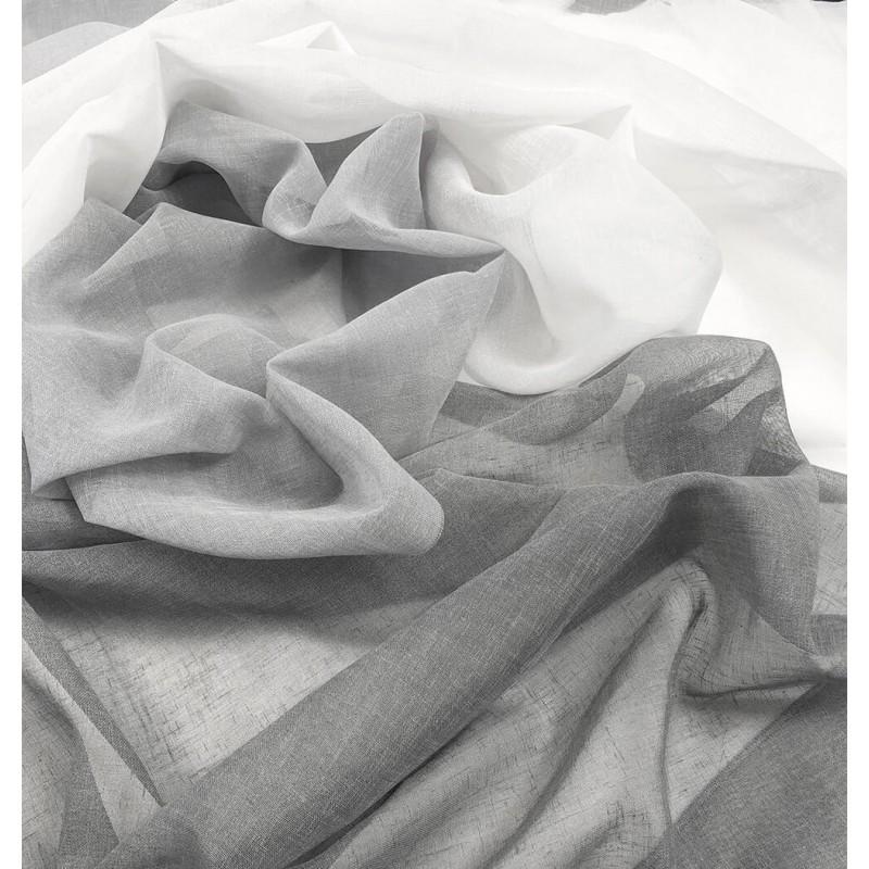 Metraj perdea in degrade cu aspect natural Karo gri cu alb