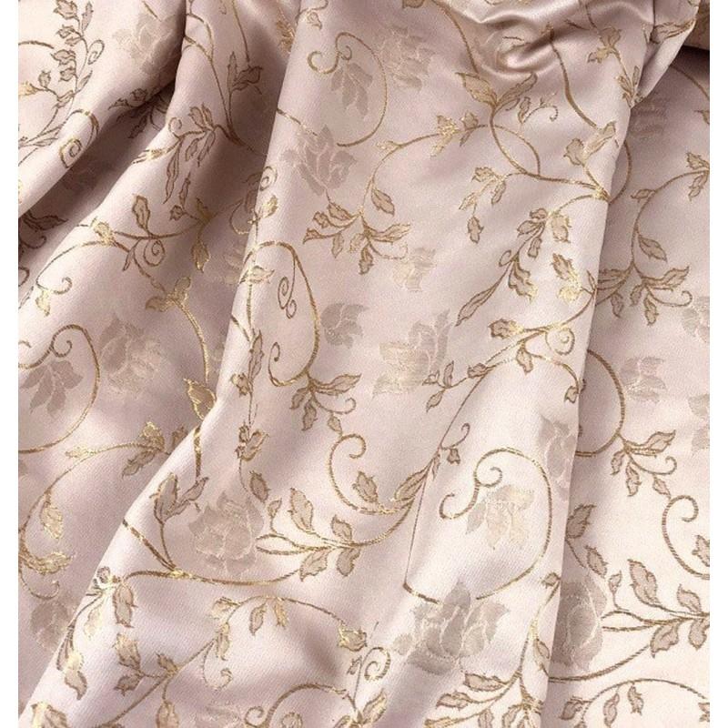 Metraj draperie eleganta 2 fete roz prafuit cu bej
