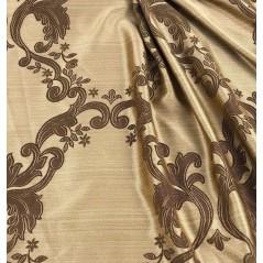 Metraj draperie cu imprimeu maro pe fond auriu