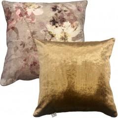 Perna decorativa cu 2 fete cu design floral catifea
