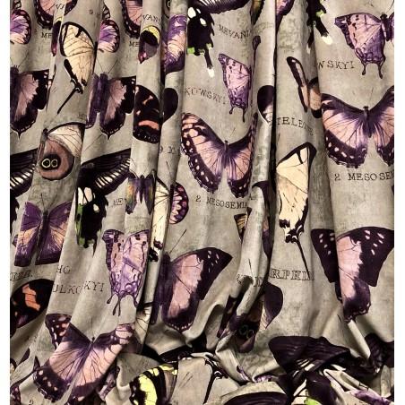 Metraj draperie si tapiterie din catifea Jungle Velvet gri