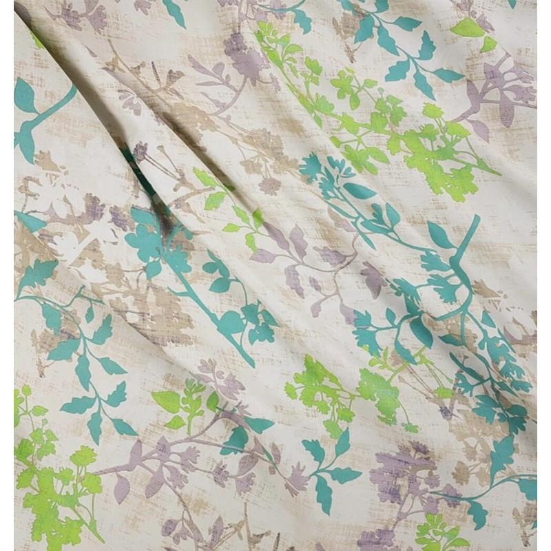 Metraj draperie cu flori Serenity gri cu turcoaz si verde