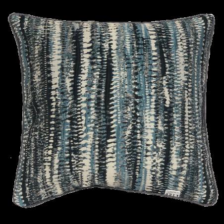 Perna decorativa cu aspect texturat si design abstract albastru cu crem si negru