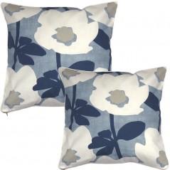 Perna decorativa moderna cu design floral albastru cu alb