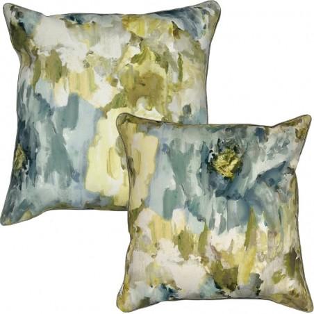 Perna decorativa cu 2 fete cu design pictura florala albastru cu galben