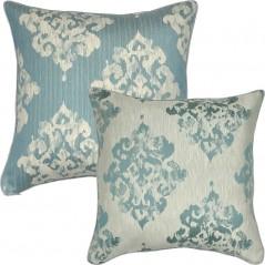 Perna decorativa cu 2 fete cu design damask elegant albastru turcoaz cu ivoire