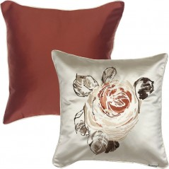 Perna decorativa cu 2 fete cu design floral central ivoire satinat cu caramiziu