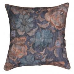 Perna decorativa cu 2 fete cu design floral maro cu albastru