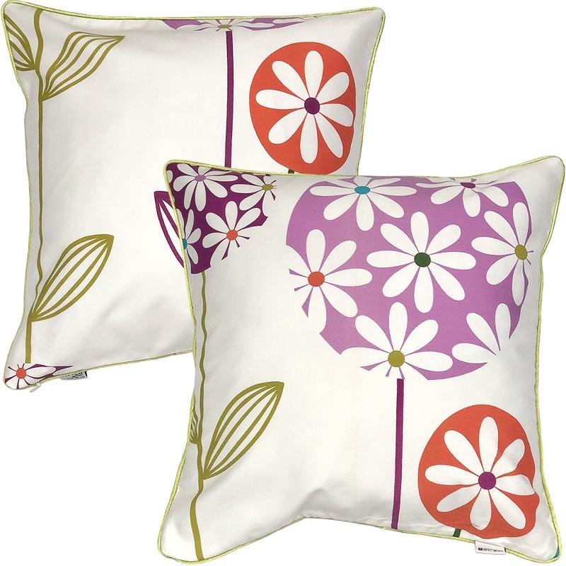 Perna decorativa cu 2 fete cu model floral multicolor